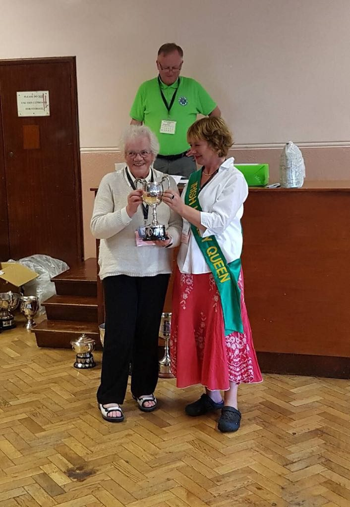 Mary Wall Receiving her Trophy from Honey Queen Lynn Fitzpatrick at Gormanston 2018